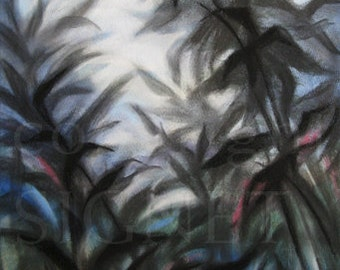 original art, Sky and Shadows I, landscape, mixed media, charcoal drawing, foliage, nature, expressionism