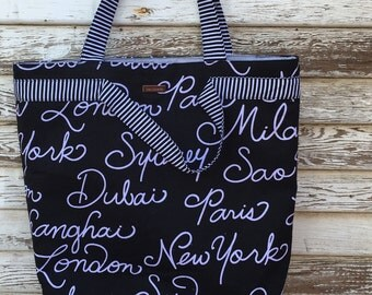 Tote Bag -Large Bag-Large Purse-Joslyn Bag-Black with White Script