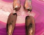 Chocolate Pearl Beetle Wing Earrings