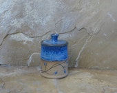 Teeny Wee Canister Jar - Handmade Stoneware Ceramic Pottery - Indigo Blue - Vines - 6 ounces