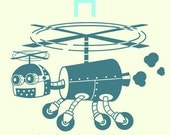Robot Alphabet Print - H is for Helicopter