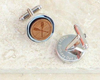Personalized Wooden Crossed Oars Cufflinks