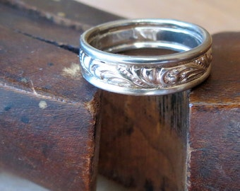 White Gold Mens wedding Band Wide 14kt white gold band Unisex gold wedding ring Gold patterned ring