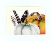 Fall Cards , Rustic Autumn Cards , Pumpkin Cards , Feathers and Pumpkins , Watercolor Pumpkins , White Pumpkin , Orange Pumpkin , Blank Card