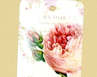 Shabby and Chic Pink Rose Gift Tags , Rose Tags , Redoute Roses , French Flower Tags , All Occasion Tags ,  Spring Flowers
