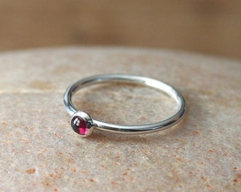 Garnet Stacking Ring in Sterling Silver, Size 2 to 15, Stacker Ring, January Birthstone, Womens Ring, Garnet Ring, Small Stacking Ring,Stack