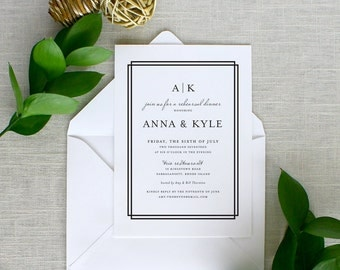 Modern Rehearsal Dinner Invitations, Modern Monogram Rehearsal Dinner Invitations, Black and White Rehearsal Dinner Invitations
