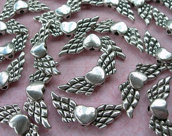 Silver Winged Heart Beads pewter 22mm x 10mm lot of 12