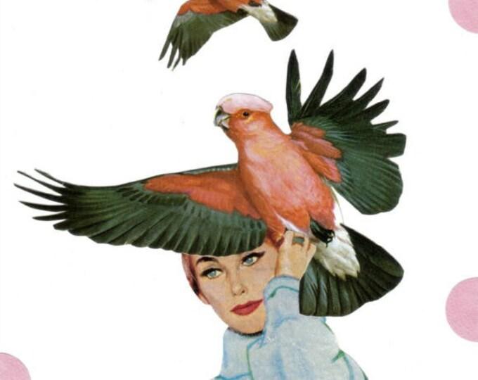 Fly Away Hair, Bird Art Collage