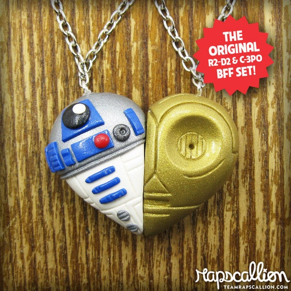 R2D2 and C3PO Inspired Best Friends Necklace Set