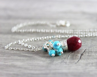 Ruby Gemstone Necklace, Blue Turquoise Necklace, Sterling Silver Necklace, Small Pendant Necklace, July December Birthstone Jewelry