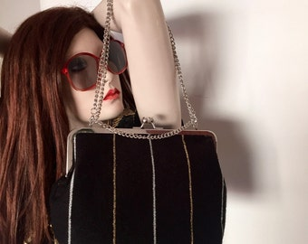 Black and Gold Metallic Knit Bag with Chain