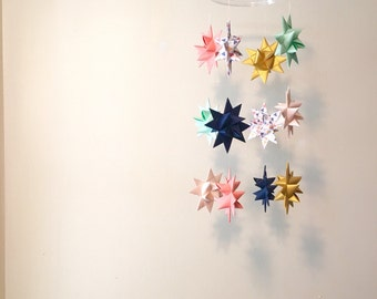 Baby Mobile Hanging Origami Stars -'Mensa' Coral, Navy, Mint, Gold
