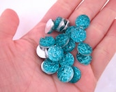 10 Clear Blue 12mm Resin Druzy Cabochons, E1130