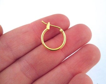 14mm Hoop Earrings, Gold Plated Ear Rings, C40