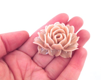 2 Pink Cabbage Rose Cabochons 45x34mm