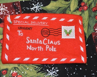 Santa envelope | felt | letter | embroidered