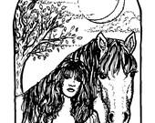 Downloadable coloring page Rhiannon Epona fantasy art
