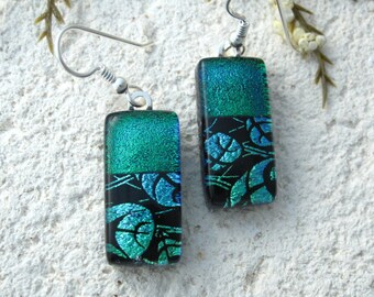 Green Leaf Earrings, Dangle Drop Earring, Dichroic Earrings, Fused Glass Jewelry, Earrings, Dichroic Jewelry, Sterling Silver, 082316e104