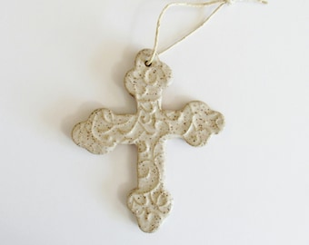 Embossed Cross Ornament - ceramic clay - handmade - ready to mail - Rustic soft white