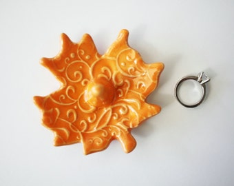 Orange Ring Holder, Ring Dish, Maple Leaf Shape with post, raised embossed imprint