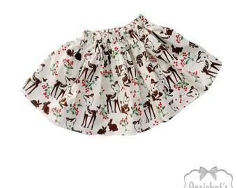 Christmas Skirt -Retro Deer Skirt - Girl Woodland Deer Skirt - Girl Twirl Skirt - Christmas Tween Skirt - Ivory Toddler 6 month - Girl 16
