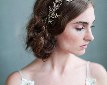 Bridal headpiece - Gilded crystal encrusted branch headpiece - Style 707 - Ready to Ship