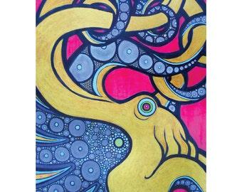 Electric Octopus - Fine Art Print - Neon Pink, Purple & Gold Sea Life Poster