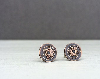 donut earrings | stud earrings | donut studs | etched copper studs | jewelry for her