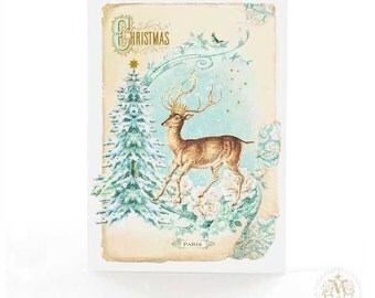 Deer card, Christmas card, holiday card, Christmas tree, winter woodland, forest, reindeer card, French vintage, blue, gold, Christmas decor
