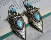 Shieldmaiden - Antique Brass Shield Earrings with Turquoise