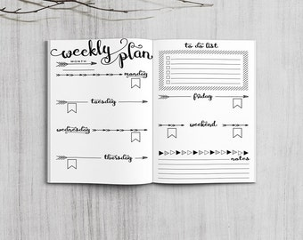 Printable Weekly Planner Inserts, Midori Passport Weekly Planner, Printable Midori Traveler's Notebook Weekly planner inserts, PDF file