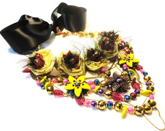 """Golden bloom, Floral fantasy necklace, """"Back to Couture"""" Collection,"""
