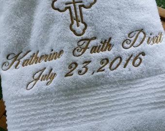Embroidered Baptism BATH Towel - CUSTOM