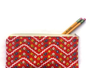 red vintage flower zipper pouch, school pencil bag, cosmetic makeup travel purse