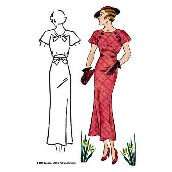 1930s Dresses, Clothing & Patterns Links 1930 Button Dress $20.00 AT vintagedancer.com