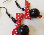 Black And Red Beaded Earrings With Polka Dot Bows/ Glass Beaded Dangle/ Handmade Jewelry/ Gift For Her/ Bead Earrings/ Gift Idea For Women