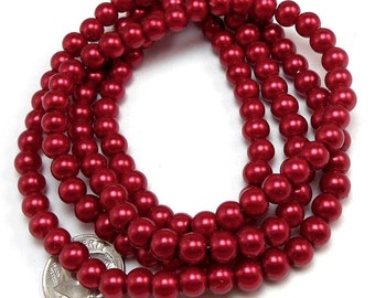 100 Dark Red Glass Pearl Beads 6mm round (H2196)