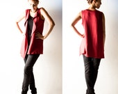 Oversize cardigan, Sleeveless sweater, Jersey top, Draped shirt, Red cardigan, womens clothes, hipster, plus size cover up, maternity cardi