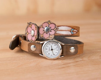 Ladies Leather Watch - Handmade Skinny Double Wrap Watch in the Dakota pattern with flowers and leaves - Pink and antique black