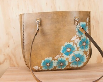 Leather Tote - Belle pattern with flowers in turquoise and antique brown leather - Handmade - Purse