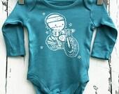 Newborn Petrol Blue Babygro vest Zombie Biker romper by Love Rocky