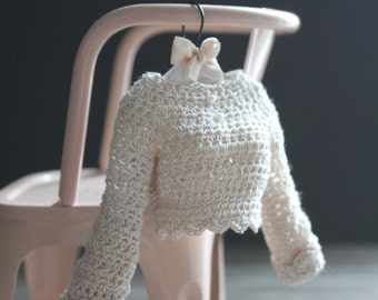 Blythe Crochet Cream Heirloom Long-Sleeved Top Made to Order