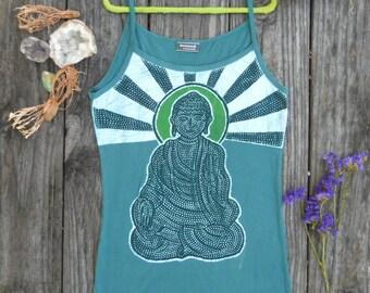 Meditation Buddha yoga top, spaghetti strap top, sleeveless top, hand dyed teal green, super soft womens batik clothing, boho tops and tees