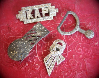 Gorgeous Antique French Art Deco Brooches, Buckles (lot of 4) 1920s Paste Metal and Rhinestones