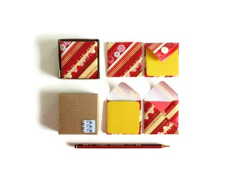 Happy Holidays Cute Stationery Set, Red and Yellow Blank Note Cards, Gift Tags Small Square Envelopes, Greetings, Thank You, Merry Christmas