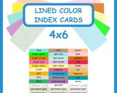100 Color Index Cards 4x6 Ruled Lined Card Stock ~ Blank Cardstock with Lines