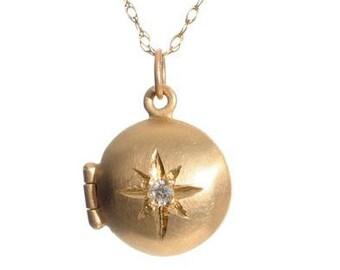 Tiny Gold Locket with Diamond