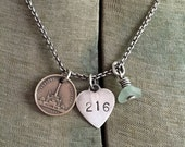 Vintage Cleveland Public Square May Co Soldiers Sailors Monument Token Lake Erie Beach Glass Sterling Silver Necklace Stamped Tag Heart