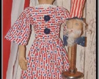 Primitive Lady Liberty Americana Folk Art Doll E Pattern